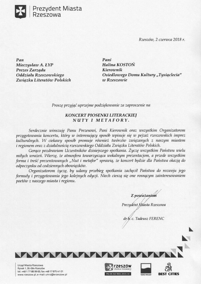 W Mega Związek Literatów Polskich, Oddział Rzeszowski BG36